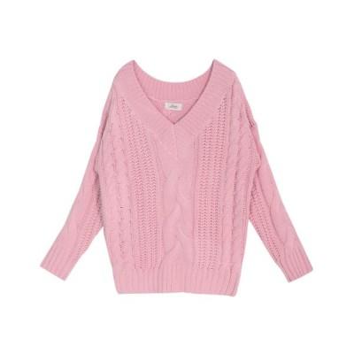 JULIA BOUTIQUE / ケーブル編みVネックローゲージニットトップス・セーター/17521 WOMEN トップス > ニット/セーター