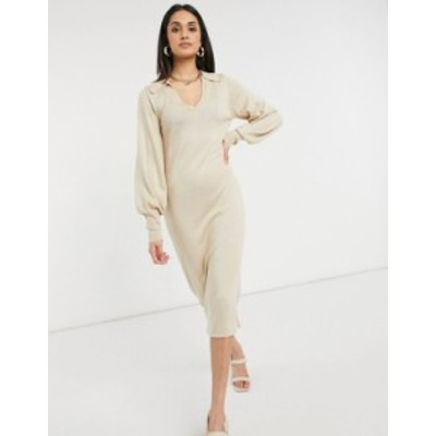 エイソス レディース ワンピース トップス ASOS DESIGN maxi dress with open collar detail in taupe Taupe