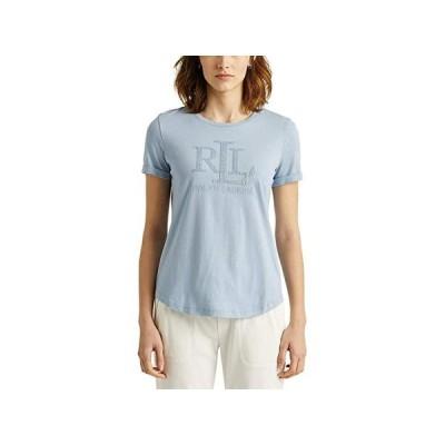 LAUREN Ralph Lauren Sequined Logo Jersey Tee レディース シャツ トップス Dust Blue