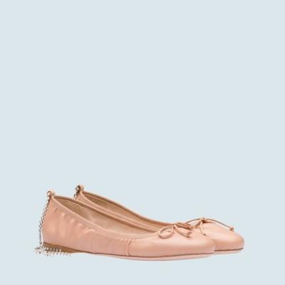 ミュウミュウ MIU MIU バレエシューズ バレリーナ シューズ 靴 ライトベージュ クリスタル リボン ナッパレザー