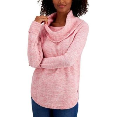 スタイル&コー Style & Co レディース ニット・セーター トップス Petite Waffle Cowlneck Sweater Sea Pink Combo