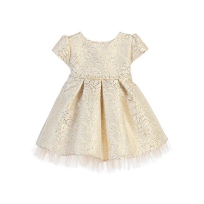 Sweet Kids Infant Vintage Ornate Pleated Jacquard with Peek-a-Boo Tulle, XL (24m), Ivory