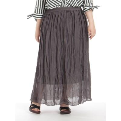 【大きいサイズ】【3-6L】しわ加工ロングスカート 大きいサイズ スカート レディース