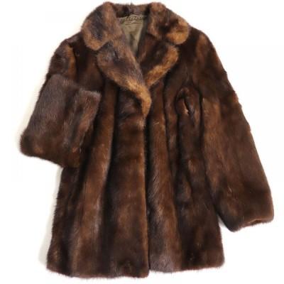 毛並み極美品▼Silver Blu MINK シルバーブル ミンク 裏地花柄刺繍入り 本毛皮コート ダークブラウン 毛質艶やか・柔らか◎
