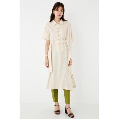 (SHEL'TTER SELECT/シェルターセレクト)ベルテッドアシメントリーシャツワンピース(Belted Asymmetry Shirt Dress)/レディース L/BEG1