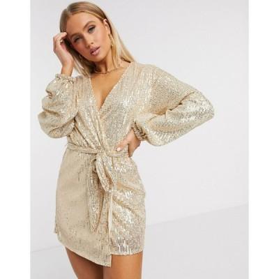 クラブエル ミディドレス レディース Club L sequin long sleeve wrap mini dress in gold エイソス ASOS ゴールド 金