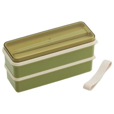 お弁当箱 2段 シリコン製シールブタ ランチボックス レトロフレンチカラー 630ml グリーン SSLW6 【代引不可】 [01]