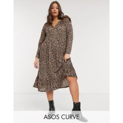 エイソス レディース ワンピース トップス ASOS DESIGN Curve midi smock dress with grandad collar in animal print Animal print