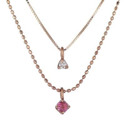 ネックレス レディース 天然石 ピンクトルマリン ネックレス 10月 誕生石 ダイヤモンド K10ピンクゴールド ニ連チェーン プレゼント 安い