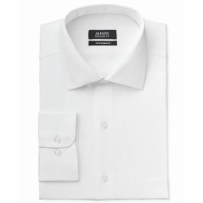 Alfani  ファッション ドレス Alfani NEW Bright White Mens Size Large L One Pocket Ribbed Dress Shirt