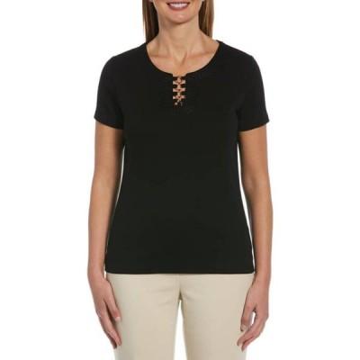 ラファエラ レディース Tシャツ トップス Solid Short Sleeve Top With Split Neck And Ring Hardware
