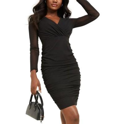 クイズ QUIZ レディース ボディコンドレス タイト ワンピース・ドレス Ruched Bodycon Dress Black