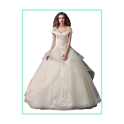 Beauty-Emily Maxi Princess Long Lace Organza Boat Neck V-Neck Off The Shoulder Lace-Up Ball Women's Gowns Christmas Wedding Dresses Color White,Size 1