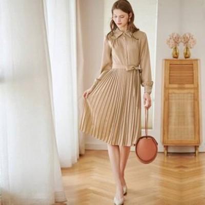 ドレス シフォンドレス ワンピース 大きいサイズ 襟付き Aライン 無地 ひざ下丈 プリーツ シンプル ワンピ レディース