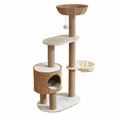 キャットタワー猫タワー ラグジュアリーウィービングキャットヴィラキャッ (中古品)