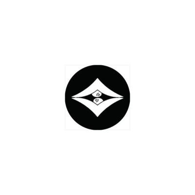 家紋シール 向い雁金菱紋 直径4cm 丸型 白紋 4枚セット KS44M-1191W