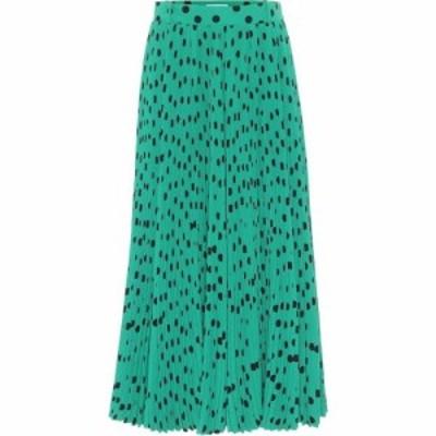バレンシアガ Balenciaga レディース ひざ丈スカート スカート Polka-dot pleated midi skirt Green/Black