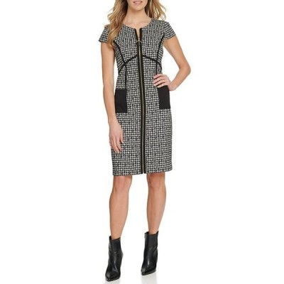 ダナ キャラン ニューヨーク レディース ワンピース トップス Knit Zip Front Jewel Neck Houndstooth Dress