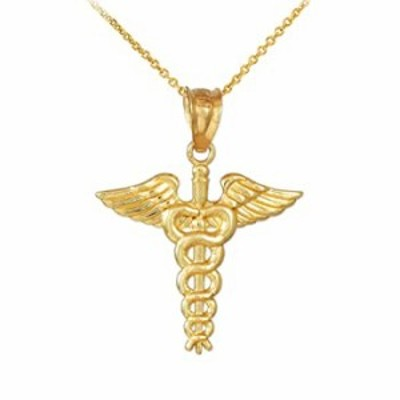 American Heroes 14k Gold Caduceus Charm Pendant Necklace, 20""