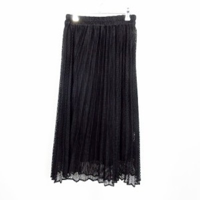 【中古】チップクリップ CHIP CLIP スカート フレア ミモレ丈 総柄 M 黒 ブラック /MO レディース