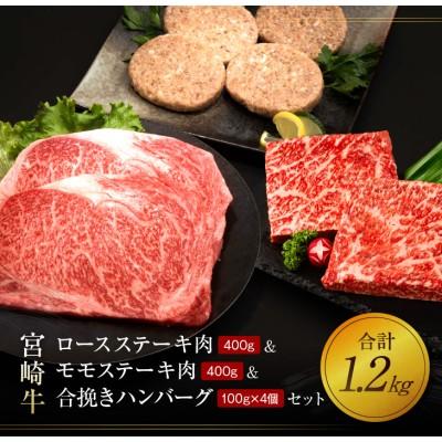 宮崎牛ロースステーキ肉400g&モモステーキ肉400g&合挽きハンバーグ(100g×4個)セット《合計1.2kg》