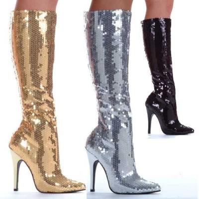 """ブーツ シューズ 靴 エリーシューズ New レディース 5"""" Stiletto ヒール Sequins ニーハイ ブーツ Sexy グリッター ブーツ 511-TIN SILVER"""
