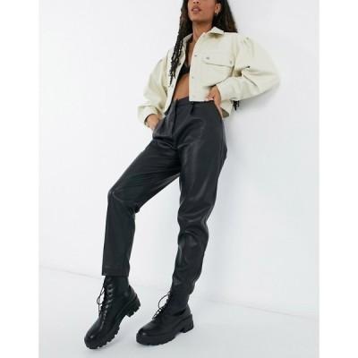 ニュールック New Look レディース ボトムス・パンツ leather look tapered trousers in black ブラック