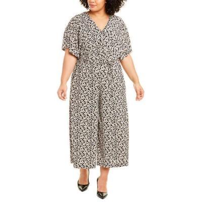 ロンドンタイムス ワンピース トップス レディース London Times Plus Kimono Wrap Jumpsuit black & taupe