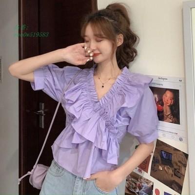 2020 夏新作 レディース 半袖 全3色 ファッション 韓国 合わせやすいシャツ
