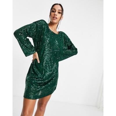 エイソス レディース ワンピース トップス ASOS DESIGN padded shoulder long sleeve v back sequin mini dress in forest green