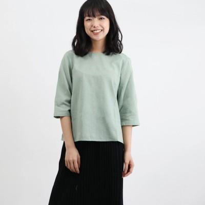 カンカン KANKAN 綿麻ビッグドットジャガードプルオーバー (グリーン)