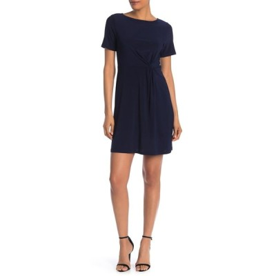 タッシュプラスソフィー レディース ワンピース トップス Short Sleeve Side Twist Dress NAVY