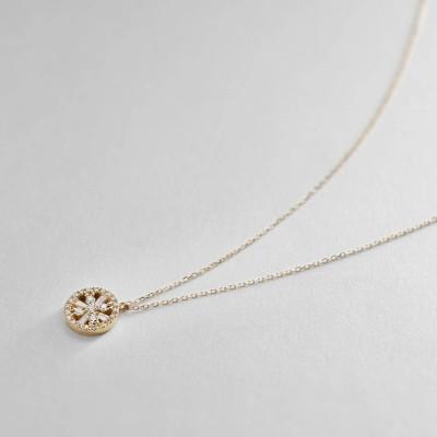 ココシュニック COCOSHNIK K18ダイヤモンド テーパーカット透かし取り巻き ネックレス (イエローゴールド)