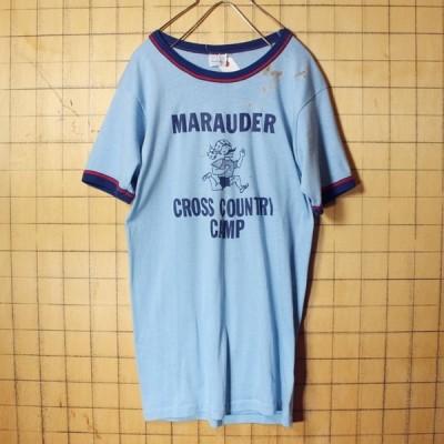 70s 80s Prange-way プリント Tシャツ ライトブルー 青 レディースM アメリカ古着