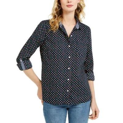 トミー ヒルフィガー カットソー トップス レディース Printed Roll-Tab Sleeve Shirt Sky Captain Multi