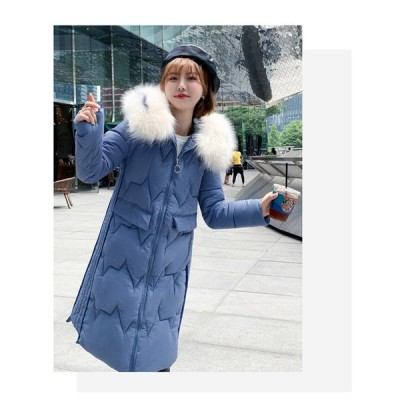 中綿ダウンジャケット レディース 冬服 フード取り外し不可 ロングジャケット ダウンコート 着痩せ  ゆったり 暖かい 中綿コート ファスナー 厚手