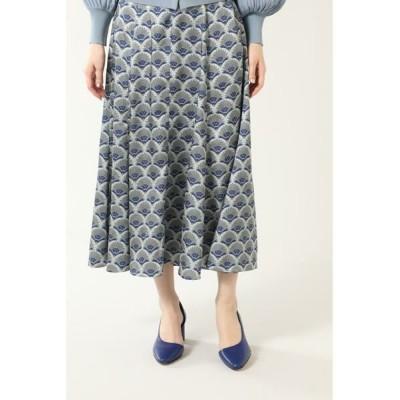 ROSE BUD/ローズ バッド 幾何学プリントロングスカート ブルー -
