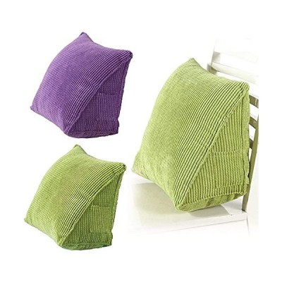 Soft Corduroy Triangle Pillow Back Support with 2 Pocket 15.714.27.9Inch Reading Backrest Cushion Wedge Pillow for Sofa Bed Office Car Chair
