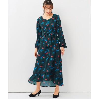 大きいサイズ フラワープリントイレギュラーヘムロングワンピース(MIIA) ,スマイルランド, ワンピース, plus size dress