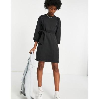ピース ミディドレス レディース Pieces sweater dress with puff sleeve in washed black エイソス ASOS ブラック 黒