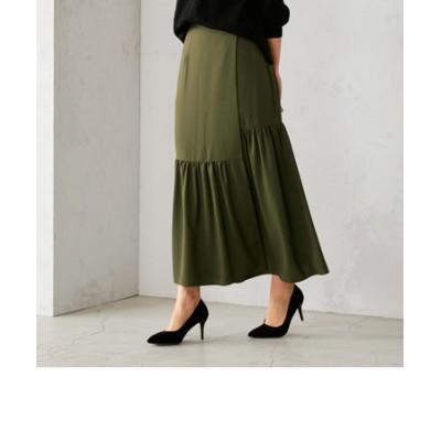 〈ウエストゴム〉ティアード ラップ風スカート