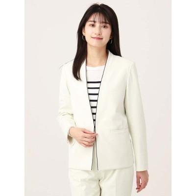 スーツ/レディース/セットアップ/通年/ハンドウォッシュ/JAPAN QUALITY/スムースストレッチ Vカラーパイピングジャケット オフホワイト