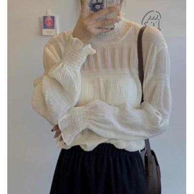 韓国 ファッション レディース ブラウス トップス 透け感 フリル レイヤード シャーリング 重ね着 長袖 ゆったり 上品 フェミニン 大人可