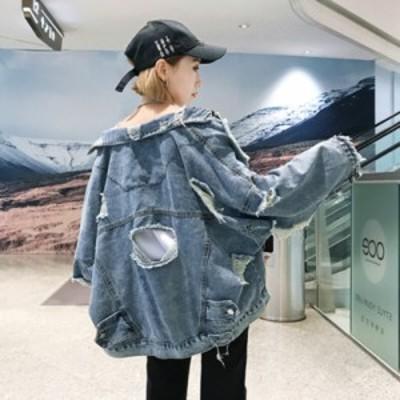 デニムジャケット 長袖 襟付き ダメージ加工 クラッシュデニム オーバーサイズ BIGシルエット ゆったり 大きめ 体型カバー ヴィンテージ