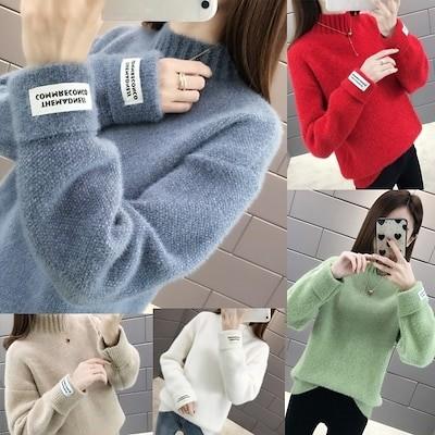 ハーフネックニットのセーター女性秋冬2020新型のゆったりとしたサイズで保温性の高いシニールの外にベースのシャツを着る