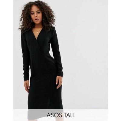 エイソス ASOS Tall レディース ワンピース ラップドレス ミドル丈 ワンピース・ドレス ASOS DESIGN Tall long sleeve plunge wrap midi dress ブラック