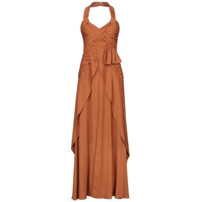 SELF-PORTRAIT ロングワンピース&ドレス ブラウン 12 レーヨン 96% / ポリウレタン 4% ロングワンピース&ドレス