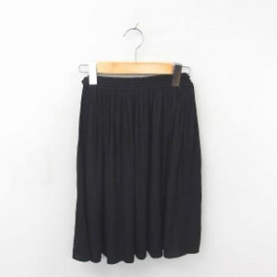 【中古】アナザーエディション アローズ スカート ギャザー フレア 薄手 無地 シンプル ウエストゴム 黒 ブラック