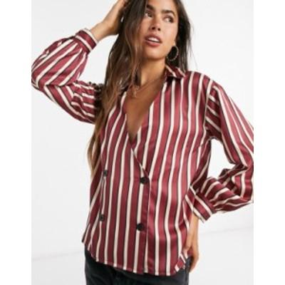 エイソス レディース シャツ トップス ASOS DESIGN satin wrap tux shirt in stripe Multi
