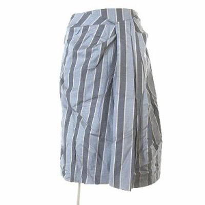 【中古】トゥモローランドコレクション スカート ひざ丈 ストライプ シルク混 ウール グレー 36 ※VGPM レディース
